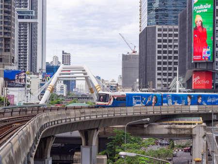 BANGKOK, THAILAND - July 7, 2019 :BTS skytrain is running to the Chong nonsi BTS station, Bangkok, Thailand