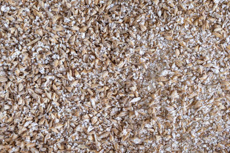 Close-up of grinded malted barley for making craft beer. Process of making home beer from malt. Full frame photo. Concept of alcoholic beverage production