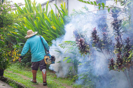 Man are working fogging to eliminate mosquitoes. In the rain season be careful of mosquitoes and protect dengue fever spread