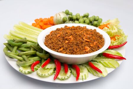 Thailand spicy food Served with vegetables Banco de Imagens