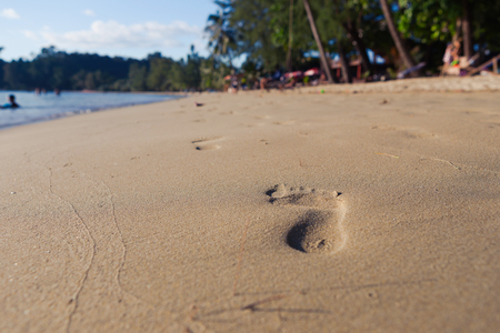 Footprints in the sand on the morning beach. Vacation and travel concept.
