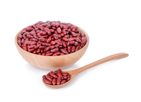 red beans in wooden bowl and spoon isolated on white Stock Photo