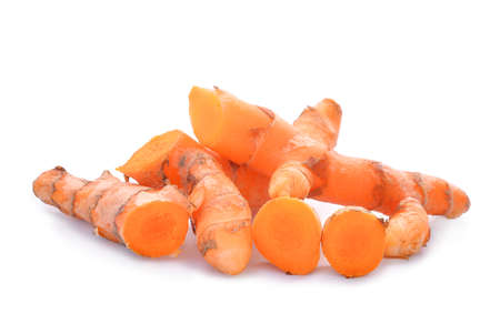 Turmeric root isolated on white Stock Photo