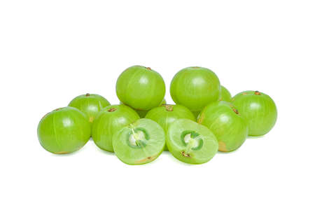 tropica: Indian gooseberry or Amla (Phyllanthus emblica) on white