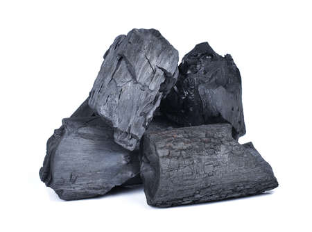 combust: natural wood charcoal,traditional charcoal or hard wood charcoal isolated on white