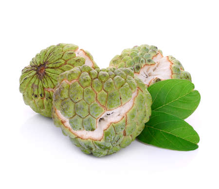 fresh green custard apple isolated on white