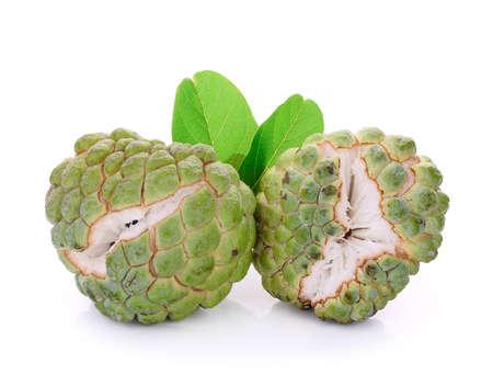 thiamine: fresh green custard apple isolated on white