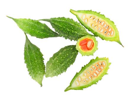 balsam: top view of fresh balsam apple, balsam pear, bitter cucumber, bitter gourd, bitter melon isolated on white
