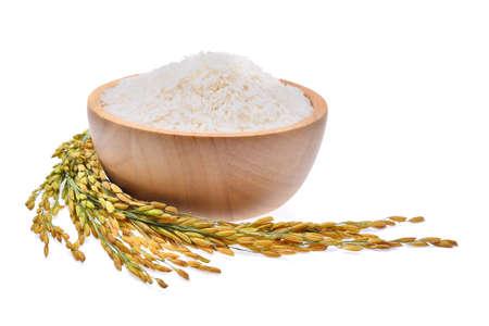 witte rijst (Thaise Jasmine Rijst) en ongemaalde Rijst geïsoleerd op een witte achtergrond Stockfoto