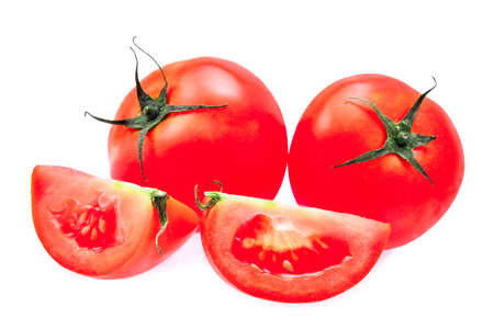 bakground: fresh tomato isolated on white bakground Stock Photo