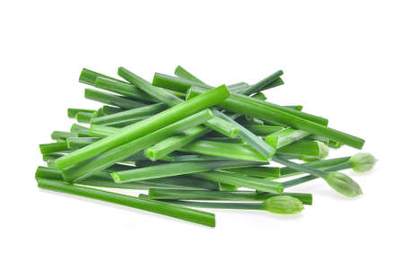 alliaceae: pile of fresh slice green chinese chives isolated on white background Stock Photo