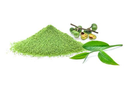 green tea powder,tea leaf,tea seeds isolated on white background