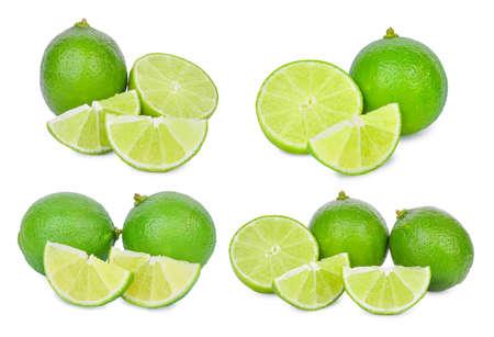 set of fresh lime isolated on white background Stock Photo