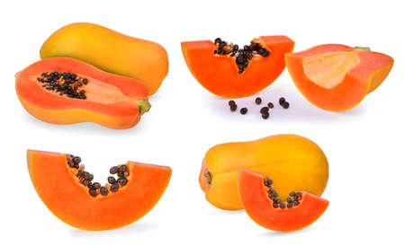 set of ripe papaya fruit isolated on white background Stock Photo