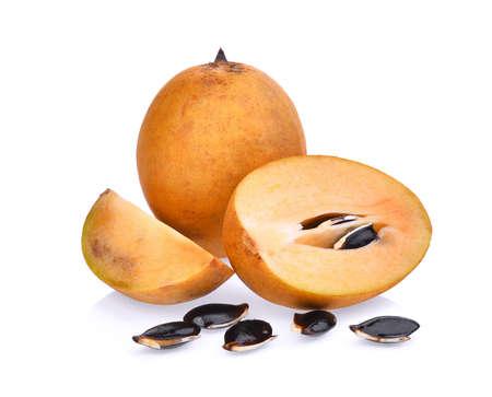 padilla: fresh sapodilla fruit isolated on white background