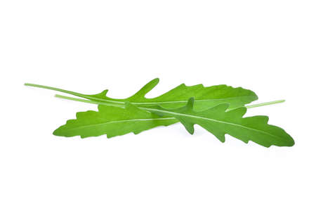 roquette: wild rocket leaves isolated on white backbground Stock Photo