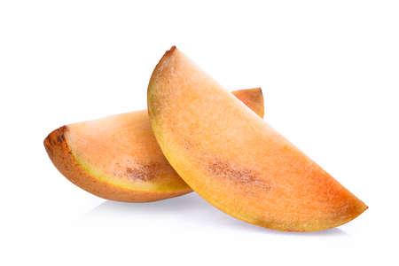 padilla: slice of fresh sapodilla fruit isolated on white background Stock Photo