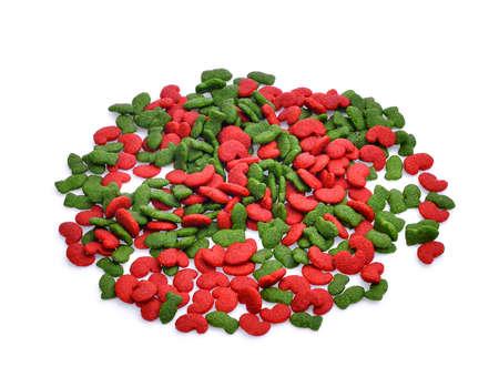 pile of dry dog food isolated on white background