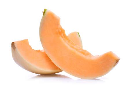 slice of honeydew melon(sunlady) isolated on white background