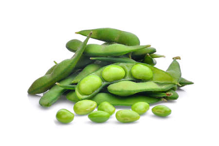 pile of green edamame beans isolated on white background