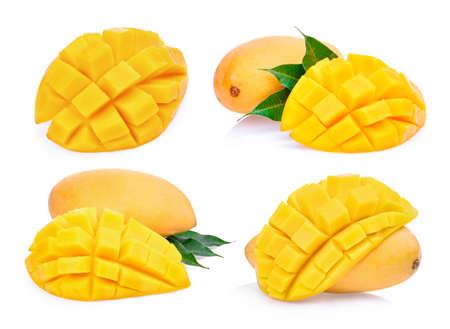 set of slice fresh mango isolated on white background Stock Photo