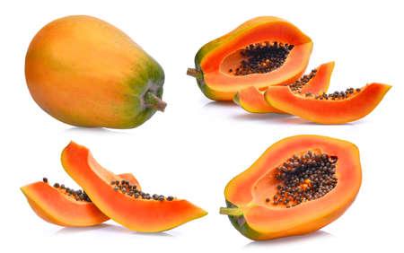 set of fresh ripe papaya isolated on white background