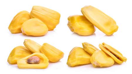 set of ripe jackfruit isolated on white background