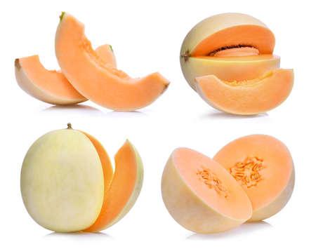 set of fresh honeydew melon(sunlady) isolated on white background