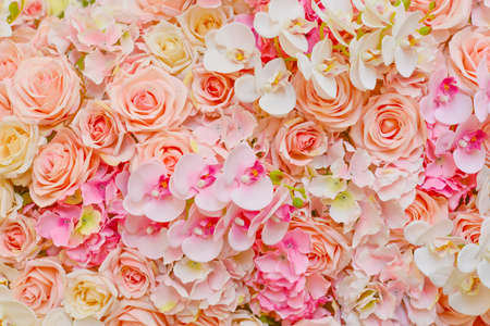 Fake flowers of beautiful pink roses and orchids for wedding stock fake flowers of beautiful pink roses and orchids for wedding decoration or background of your work mightylinksfo