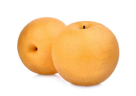 흰 배경에 고립 된 스노우 배 과일의 전체 2 개