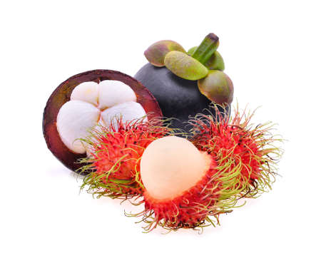 rambutan and mangosteen isolated on the white background Banco de Imagens