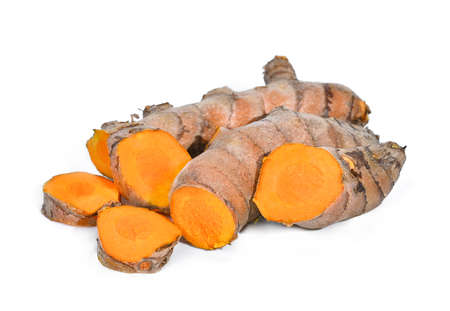turmeric root, tropical herb isolated on white background Foto de archivo