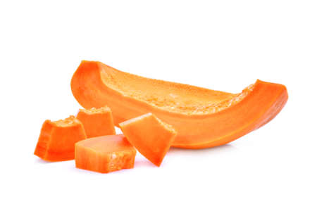 sliced of ripe papaya isolated on white background