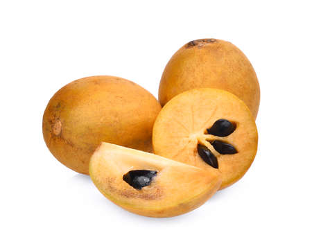 padilla: fresh whole and half of sapodilla fruit isolated on white background Stock Photo