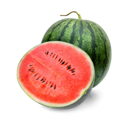whole and half of watermelon isolated on white background Banque d'images