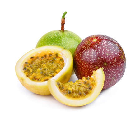 whole and half with slice of passion fruit isolated on white background Stock Photo