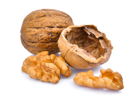 walnuts isolated on white background Foto de archivo
