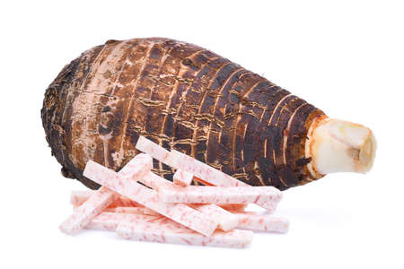 yam: whole and sick of taro root isolated on white background