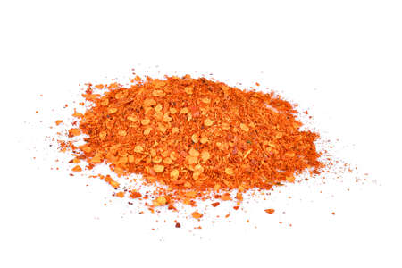 pile of cayenne pepper isolated on white background
