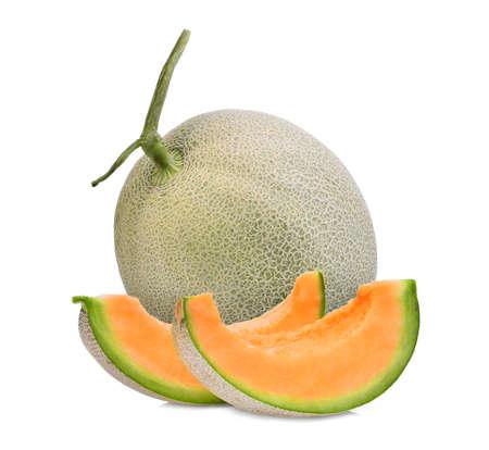 whole and slice of japanese melons, orange melon or cantaloupe melon isolated on white background Stock Photo