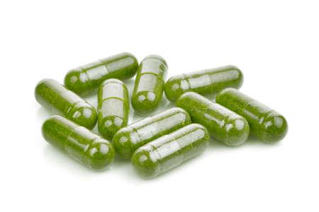 moringa oleifera capsule isolated on white background Stok Fotoğraf