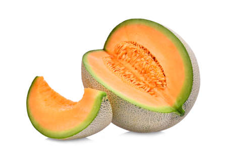 whole and slice of japanese melons, orange melon or cantaloupe melon with seeds isolated on white background Imagens