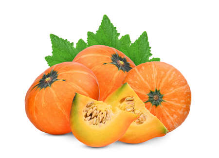 three whole and slice pumpkin with green leaves isolated on white background Stock Photo