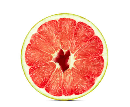 half cut of red pomelo citrus fruit isolated on white background Stock Photo