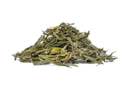 Stapel van gedroogde stevia rebaudiana bertoni geïsoleerd op een witte achtergrond Stockfoto - 91954415