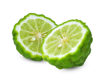 two half fresh bergamot isolated on white background Banque d'images