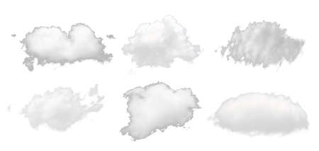 set of white cloud isolated on white background