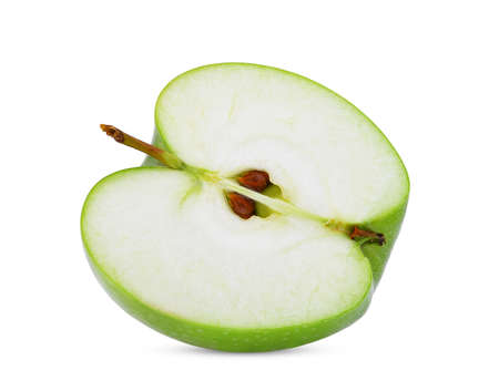 half cut of green apple or granny smith apple isloated on white background