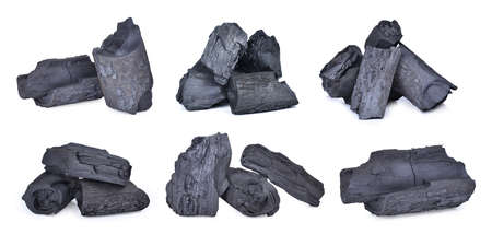 set of natural wood charcoal,traditional charcoal or hard wood charcoal isolated on white