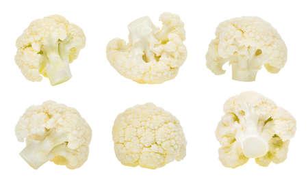 흰색 배경에 고립 된 콜리 플라워 야채 세트 스톡 콘텐츠